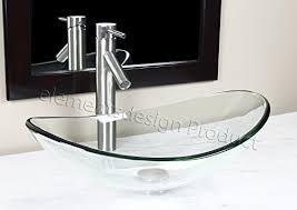 Glass Vanity Sinks Bathroom Clear Boat Oval Glass Vessel Vanity Sink Brushed Nickel