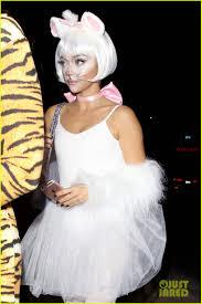 plastic surgery halloween mask zoey deutch u0026 sarah hyland celebrate halloween in hollywood see