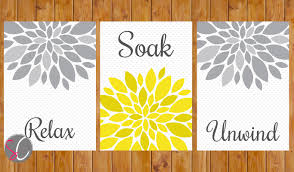 yellow grey bathroom wall decor flower burst wall art relax