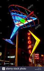giant cocktail a giant martini glass in blue neon on fremont street in las vegas