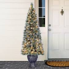 holiday time pre lit 6 u0027 brentwood potted artificial christmas tree