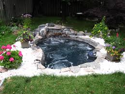The Backyard by Thinking Of A Large In Ground Spa With A Waterfall Feature Instead