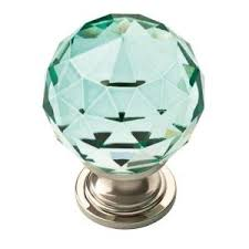 Green Glass Cabinet Knobs Liberty Faceted Crystal 1 3 16 In 30 Mm Chrome With Cerulean