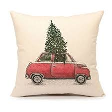 tree and car throw pillow cover home