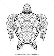 hand drawn sea turtle mascot coloring pages doodle