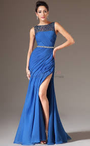 bateau neckline sheath long chiffon lace royal blue bridesmaid