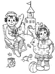 Raggedy Ann And Andy Making Sand Castle Coloring Page Netart Sandcastle Coloring Page