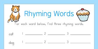 words worksheet rhyme rhyming worksheet words
