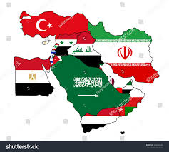 Middle East Blank Map by Flag Map Middle East Middle East Stock Vector 246205060 Shutterstock