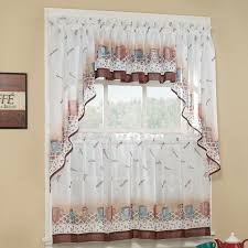 interesting sheer kitchen window curtains color flower pattern