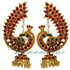 peacock design earrings traditional peacock design multi earring with pearl mattal