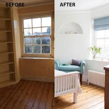 before and after from bookcase filled study to peaceful guest room