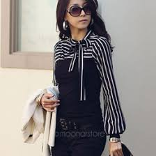 White Blouse With Black Bow Discount White Blouse Black Bow 2017 Black White Striped Bow