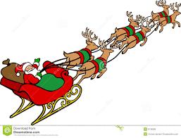 reindeer pulling santas sleigh clipart clipartxtras