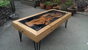 Waterfall Glass Coffee Table by Tree Root Oak And Glass Coffee Table Reborn From Disaster