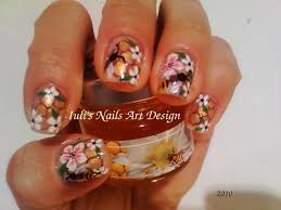 nail art design bees honey comb and flowers on natural nails