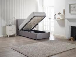 Single Ottoman Bed Rimini Grey Fabric Sleigh End Gas Ottoman Storage 3ft 90cm Single