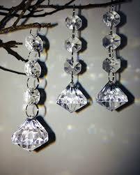 Chandelier Beaded Earrings White Bead 12pcs Clear Acrylic Crystal Beads Diamond Shape Garland Chandelier