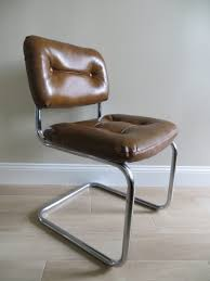 Office Accent Chair Chair Mid Century Modern Brown Chrome Cantilever Office Accent