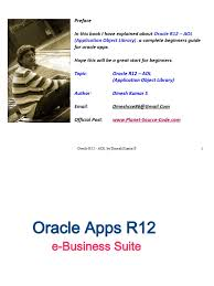 oracle r12 aol application object library by dinesh kumar s