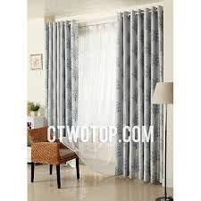 cheap affordable leaf gray and blue modern basement window curtains