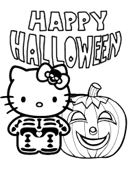 hello kitty skeleton and pumpkin halloween coloring page h u0026 m