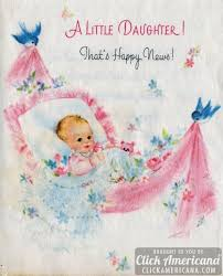baby girl cards congrats on your baby girl vintage cards from 1969 click americana