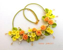 coloured flower necklace images Choose an amazing handmade gift for a woman from 100 polymer clay jpg