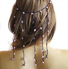 hippie hair wraps crochet headband hair weddings hair accessories hair pink