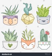 Cute Succulent Pots Cute Succulent Flowers Funny Pots Vector Stock Vector 411142363