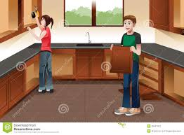 mounting kitchen cabinets young couple installing kitchen cabinets stock vector image
