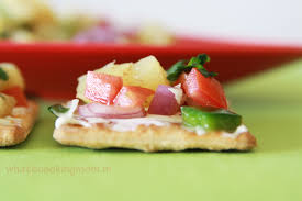 healthy canapes recipes pineapple salsa canapes whats cooking