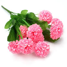 1 bouquet 9 head artificial fake pink hydrangea flowers green leaf