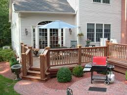 Deck With Patio by Mahogany Garden Deck With Paver Patio In Westport Ct