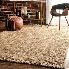 Bare Skin Rug Amazon Com Nuloom Natural Hand Woven Chunky Loop Jute Area Rug 7