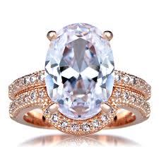 Rose Gold Wedding Rings by Oval Cut 5 Carat Rose Goldtone Cz Wedding Ring Set