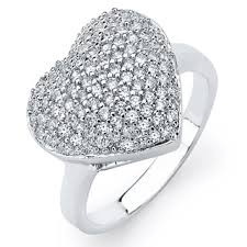 heart ring sterling silver cubic zirconia pave heart ring free shipping on