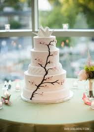 Origami Wedding Cake - 5 tier with cherry blossoms and origami crane cake topper