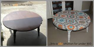 Diy Round Coffee Table by Chic Diy Ottoman From This Old Coffee Table Hello I Live Here