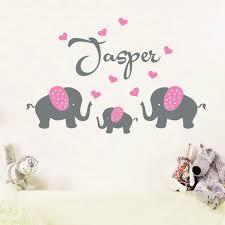 stickers elephant chambre bébé personnalisé nom personnalisé 3 éléphants avec des coeurs mur