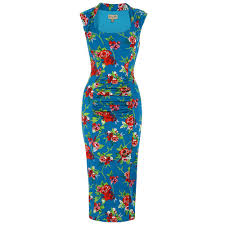 blue margarita margarita u0027 blue floral wiggle dress lindy bop