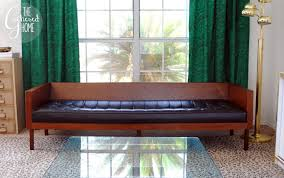 mid century modern wood case sofa the gathered home