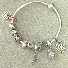 pandora bangle bracelet with charm images Pandora jewelry bangle bracelet with 10 charms poshmark jpg
