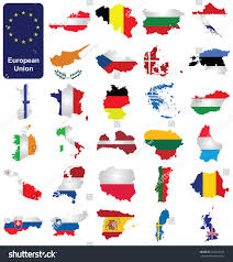 Map Of The European Union by Flags Member Countries European Union Overlaid Stock Illustration
