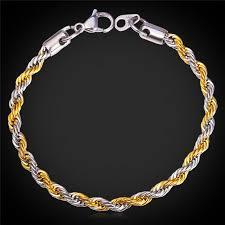 gold tone stainless steel bracelet images Mgc unisex 2 tone rope couple chain bracelet for women men 18k jpg