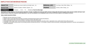 Food And Beverage Supervisor Resume Food And Beverage Assistant Cover Letter