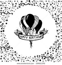 Doodle Birthday Card Hand Drawn Doodle Birthday Card Balloons Stock Vector 299921348