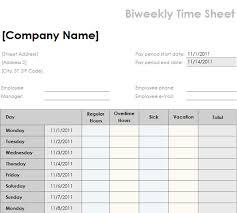 Bi Weekly Timesheet Template Excel Biweekly Timesheet Template