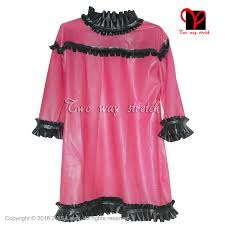 blousing rubbers transparent brown with black frills blouse half sleeves
