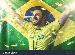 The Flag Of Brazil Brazilian Athlete Holding Flag Brazil Stock Photo 464173571